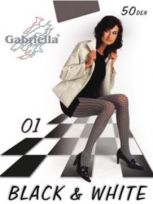 Dresuri de dama groase, Gabriella Black & White 01 cu model, 50 den (măsură 2, 3, 4)